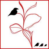 Vector black birds on a red flower illustration — Stock Vector