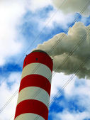 Upper part of the tall chimney — Stock Photo