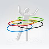 Abstract man rotating hoops — Stock Vector