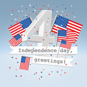 Festive USA independence day postcard — Stock Vector
