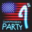 Neon 4th july club party invitation — Stock Vector