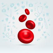 Glossy realistic natural red blood cells — Stock Vector