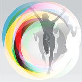 Ilustración del concepto del deporte corredores gratis — Vector de stock