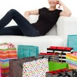 Young female and shopping bags — Stock Photo