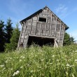 Leaning rustic old barn — Stock Photo