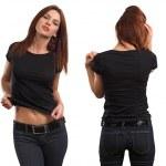 mulher sexy vestindo camisa preta em branco — Foto Stock