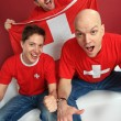 Cheering Swiss sports fans — Stockfoto
