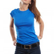 Sexy female with blank blue shirt — Stock Photo
