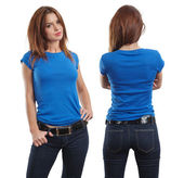 Sexy female wearing blank blue shirt — Stok fotoğraf