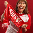 Excited female sports fan — Stock Photo