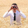 Business Man with binocular — Stock Photo