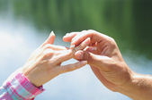 Proposal with ring — Stock Photo