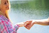 Young girl is proposed — Stock Photo