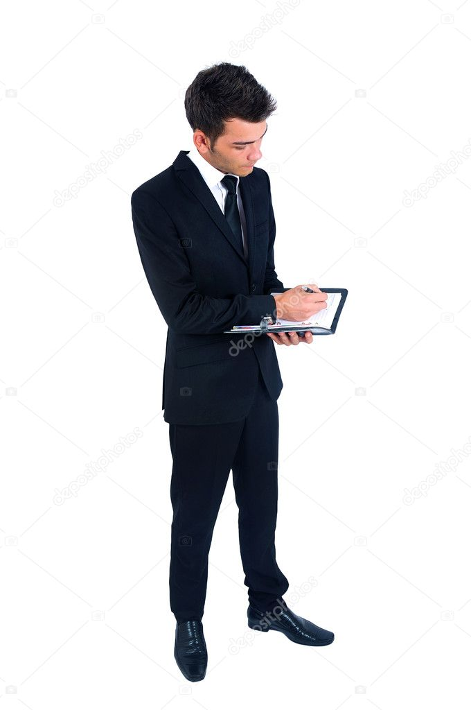 Isolated young business man with notebook — Stock Photo #11974429