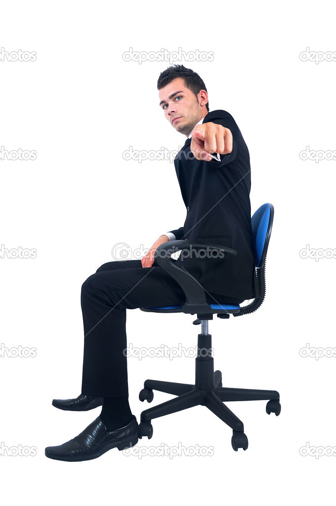 Isolated young business man pointing — Stock Photo #11974497