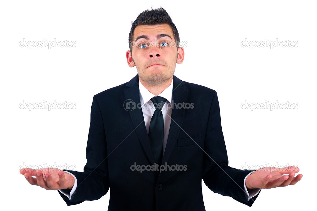 Isolated young business man confused — Stock Photo #11974659