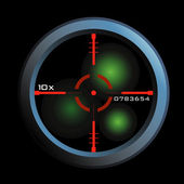 Vector of a rifle scope sight in nightview — 图库矢量图片