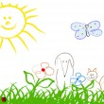 Cute child handmade drawing — Stock Vector