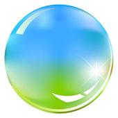 Vert et bleu brillant sphère - illustration vectorielle — Vecteur