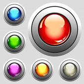 Six realistic glossy buttons - vector illustration — Vetor de Stock