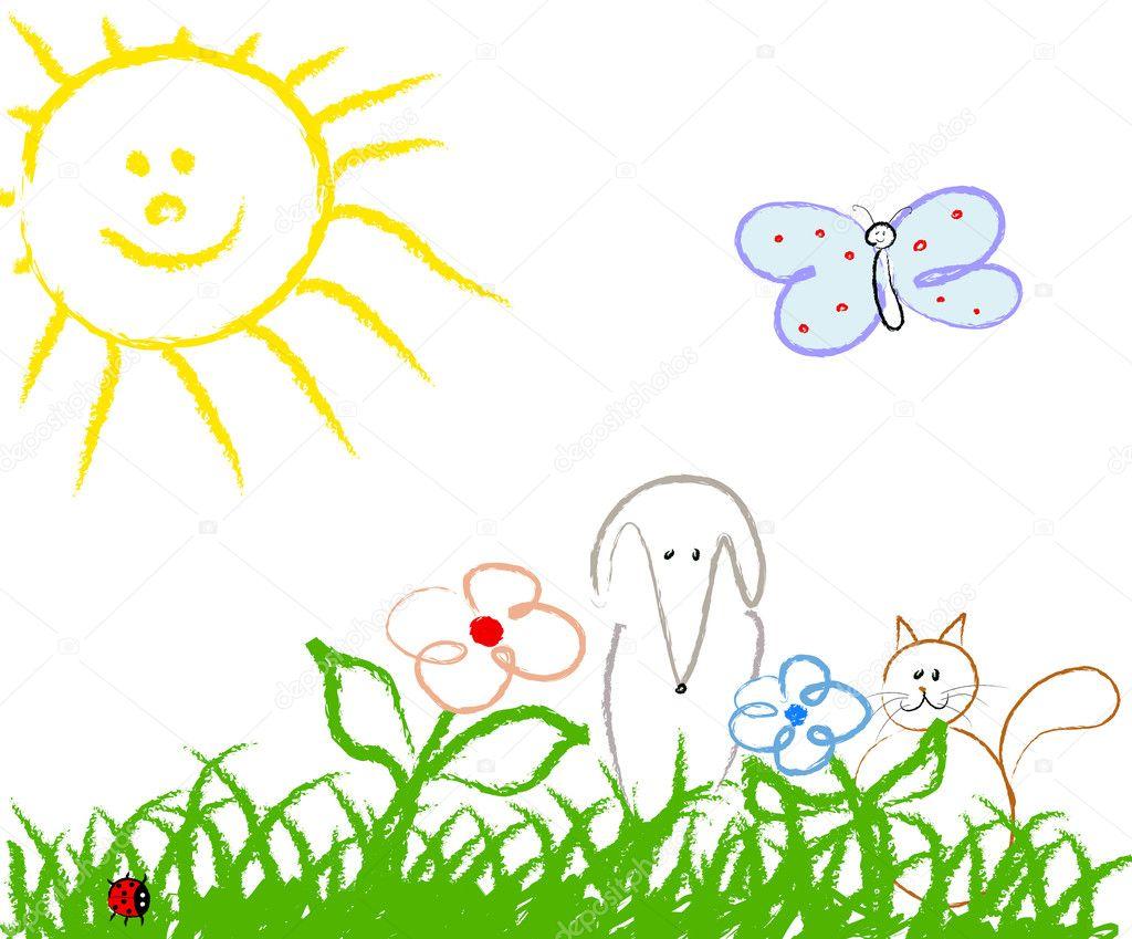 可爱儿童手工绘图 — 矢量图片作者 adigrosu
