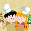 Boy and girl with chef's hats showing their cooking gloves — Stock Vector #12106064