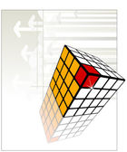 Decorative cube white, yellow and red with reflection — Stock Vector