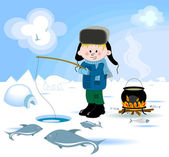 Boy doing winter fishing — Stock Vector