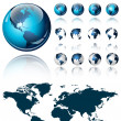 3d world map over the Earth Globe. 4 different views - vector illustration  — Imagen vectorial