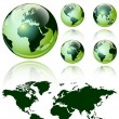 3d world map over the Earth Globe. 4 different views - vector illustration  — Stock Vector
