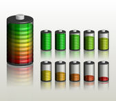 Battery. Ten different status of charge - vector illustration — Stock Vector