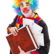 Clown holding briefcase with money — Stock Photo #10821003