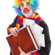 Clown holding briefcase with money — Stock Photo