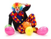 Clown with colorful balloons — Stock Photo