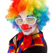 Clown with white funny shutter shades sunglasses — Stock Photo