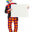 Clown holding blank white board — Stock Photo