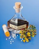 Hypericum plant and extract and homeopathic pills — Stock Photo