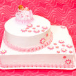 Christening cake for girl — Stock Photo
