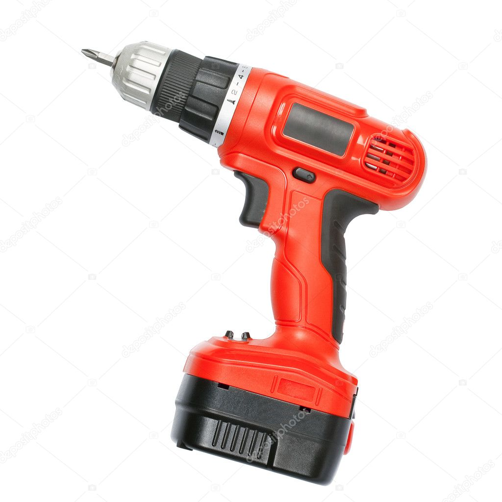 Battery screwdriver or drill isolated over white background — Stock Photo #11030977
