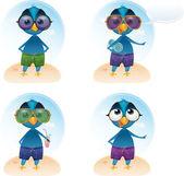 Vector Tweety summer holiday mascot — Stock Vector