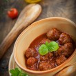 Italian cooking - meat balls with basil — Stock Photo #11767420