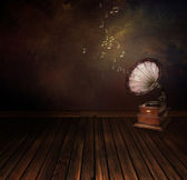 Vintage phonograph on Art abstract background — Stock Photo