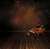 Vintage piano on Art abstract background — Stock Photo