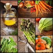 świeże warzywa kolaż — Zdjęcie stockowe