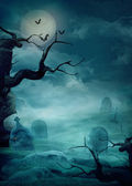 Halloween background - Spooky graveyard — Photo