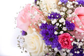 Delicate bouquet of roses on a white background — Stock Photo