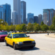 Taxi Stand in Chicago Streets - Stock Photo