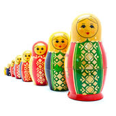 Collection of Antique Russian Dolls — Stock Photo