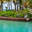 Moored Mayan Canoe — Stock Photo