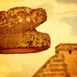 Stock Photo: MayHead Sculpture in Chichen Itza